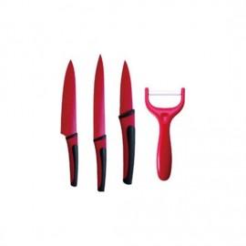 set 4 cuchillos acero inoxidable burdeos