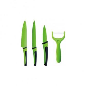 set 4 cuchillos acero inoxidable verde